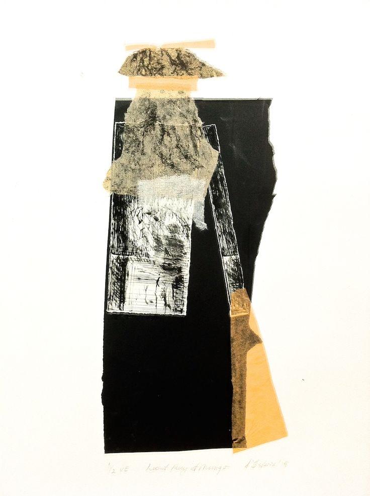 ELAINE d'ESTERRE - 'Last Ray at Mungo', 1/2, 2015, drypoint, collagraph and collage by Elaine d'Esterre at elainedesterreart.com and http://www.facebook.com/elainedesterreart/ and http://instragram.com/desterreart/