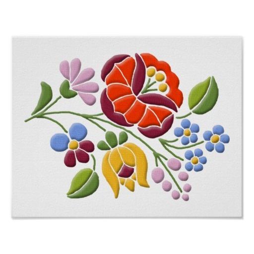 Kalocsa Embroidery - Hungarian Folk Art Poster