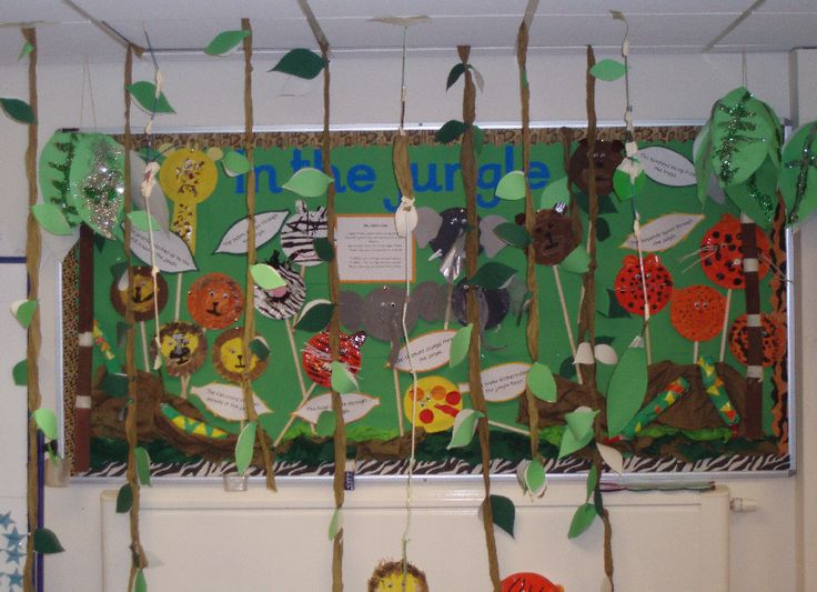 Jungle Display - love the strips of leaves hanging down.