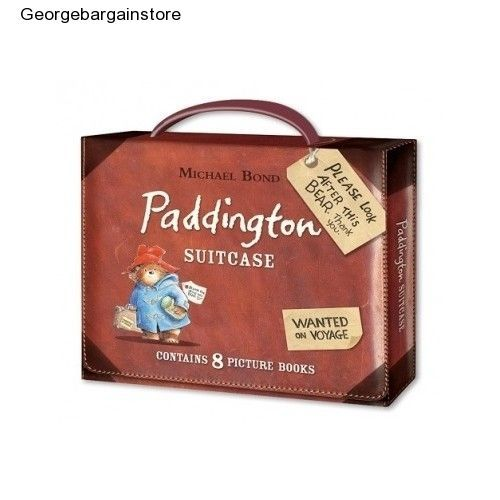 Bear Paddington Suitcase Plush Nursery Book Vintage Condition Box 8 Books Set