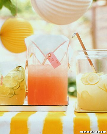 Martha Stewart's recipes for lemonade, pink lemonade, and limeade