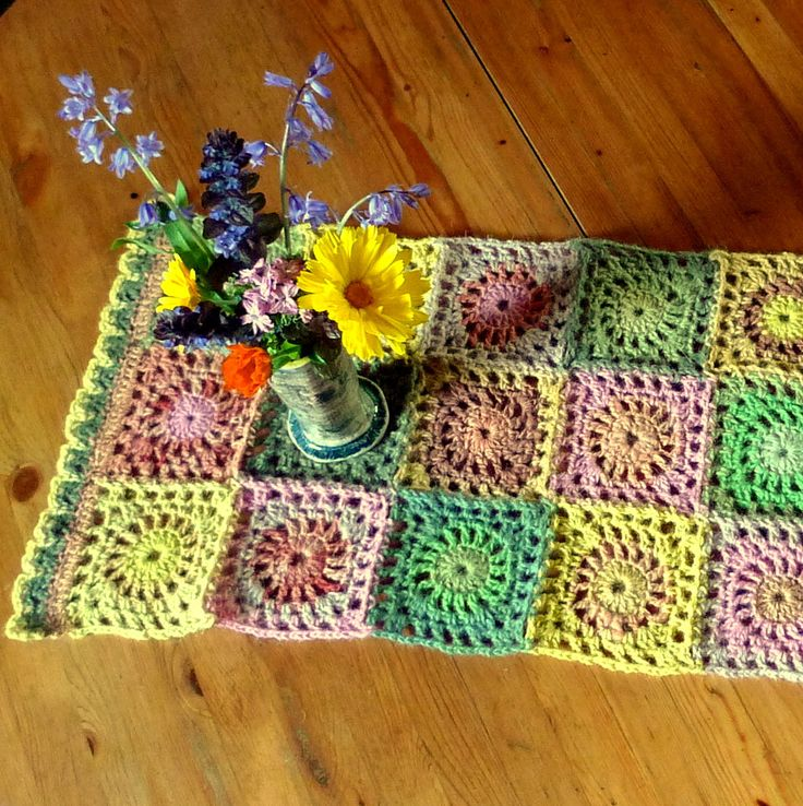 Bonbon coloured tablerunner, happily old fashioned, crocheted with plant dyed and mill dyed wool from artist's sheep, fun housewarming gift by FormerlyFleece on Etsy