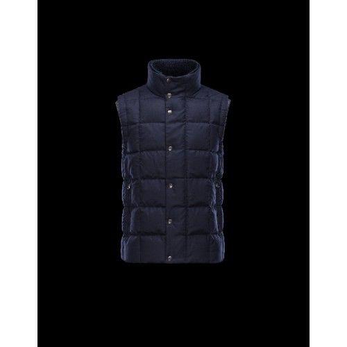 Moncler TENAY Turtleneck Dark Blu Gilet Wool Flannel Uomo 41456745SC - Nuovi Moncler Gilet Uomo Online