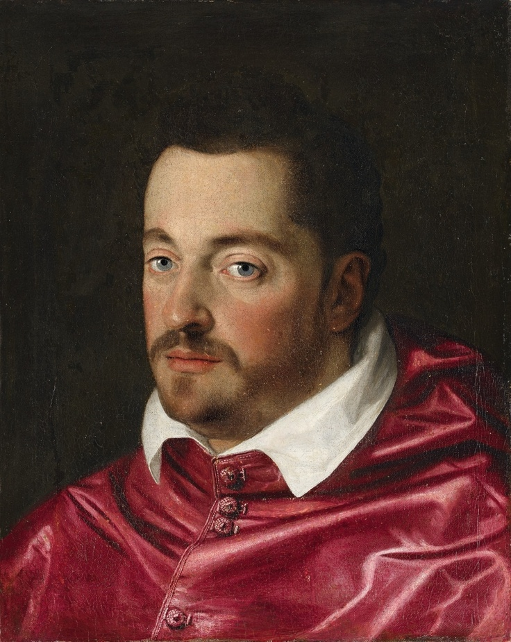 SCIPIONE PULZONE , Umkreis  vor 1550 Gaeta - 1598 Rom  BILDNIS VON FERDINANDO DE' MEDICI ALS KARDINAL  Öl auf Leinwand (doubliert). 49 x 39 cm.