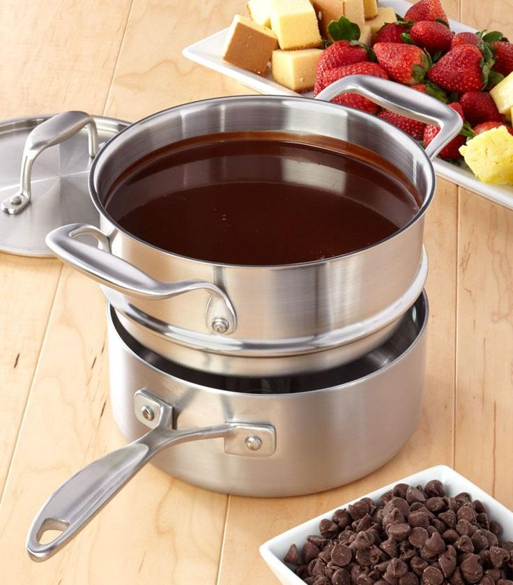 Chocolate Fondue Recipe from our friends at American Kitchen. Try this decadent treat for a special night or party. Find it on the Recipes & Tips tab. #fondue #recipe