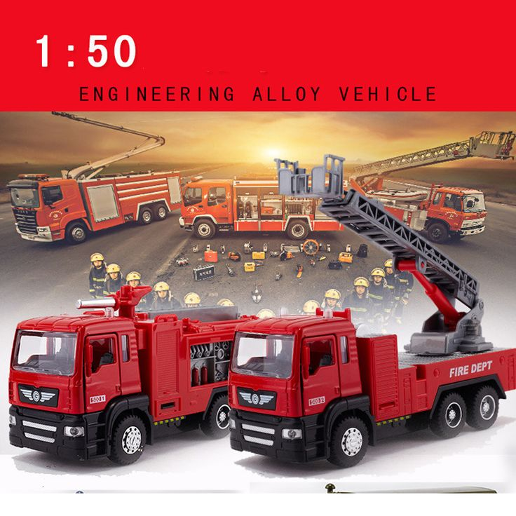 New Original Box Playmobile Juguetes Fireman Sam Toys Fire Truck Car With Siren Toys For Boy Educational toy Water Gun Toy Truck