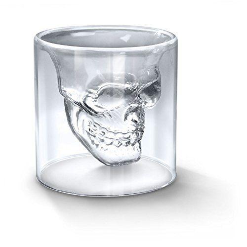 GANGXUN Cristal Skull Pirate Shot Verre à Cocktail Bière tasse Coupe, tête de mort, halloween, verre original, shooter tequila, vodka,…