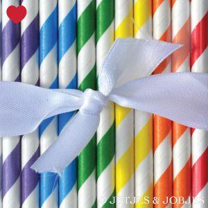 Papieren rietjes gestreept regenboog