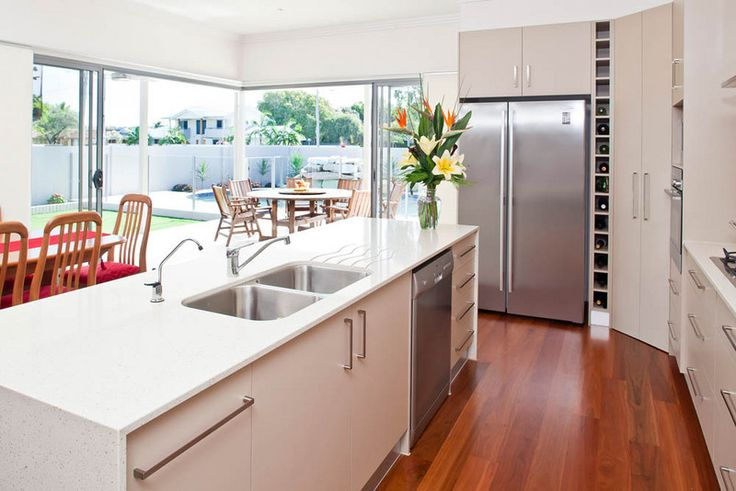 Palm Beach luxury home and kitchen with stylish floor boards. #kitchen #flooorboards