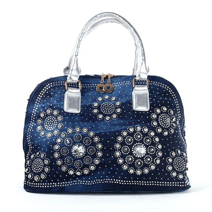 new 2015 fashion brand design denim diamond rhinestone knitted handbag one shoulder shell women's handbag bag