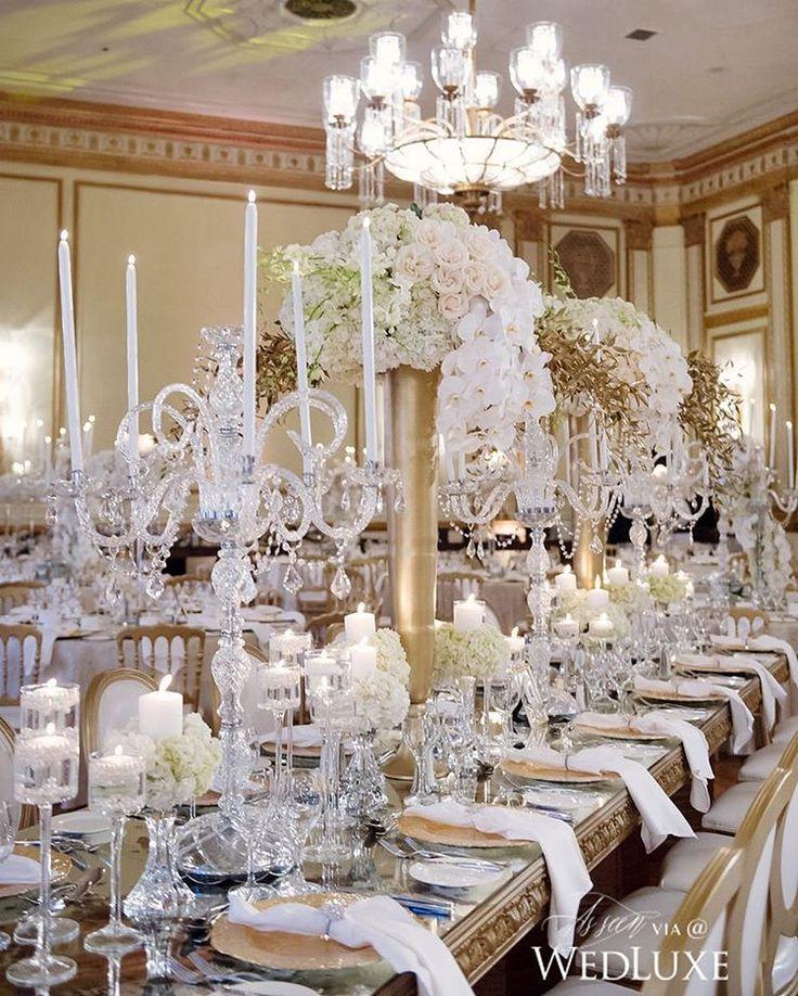 Crystal candelabras instantly glamourize an already lush #tablescape! | Photography By: Hong Photography | WedLuxe Magazine | #luxury #wedding #luxurywedding #weddinginspiration  #tabledecor #decor #floral #floralarrangement #flowers #centrepieces