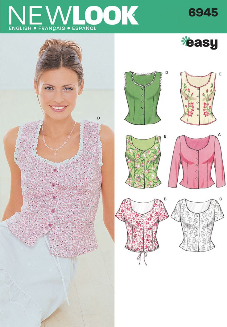 "Womens Tops Sewing Pattern 6945 New Look Somehow, D & E make me want to start singing ""The Hills are alive. . ."""