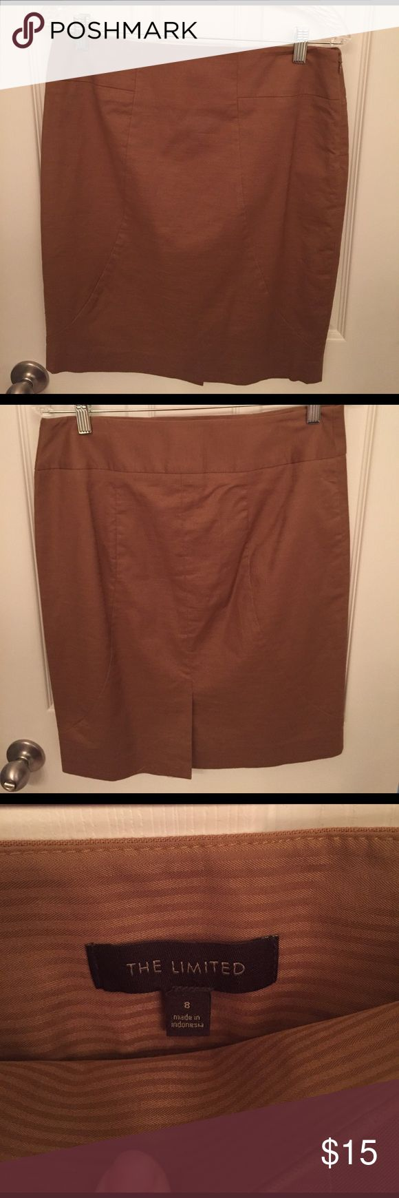 The Limited camel brown pencil skirt Camel brown pencil skirt from the Limited. Worn once size 8. excellent condition. The Limited Skirts Pencil