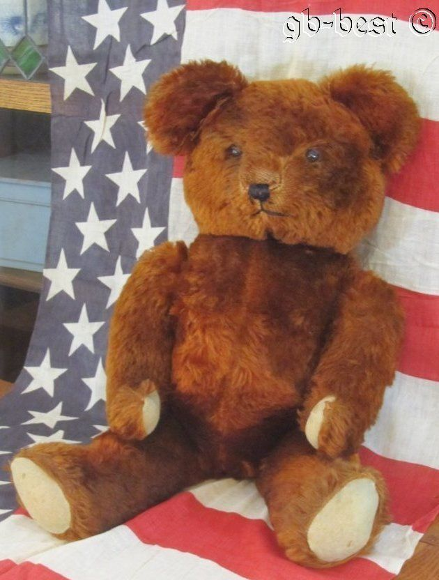 Vintage LARGE Teddy Bear JOINTED Hump Back Mohair
