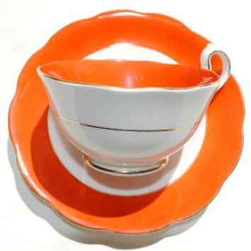 Orange Royal Albert China Teacup, 20s Royal Albert Tea Cup and Saucer Set, English Tea Set, Tea Party Cups