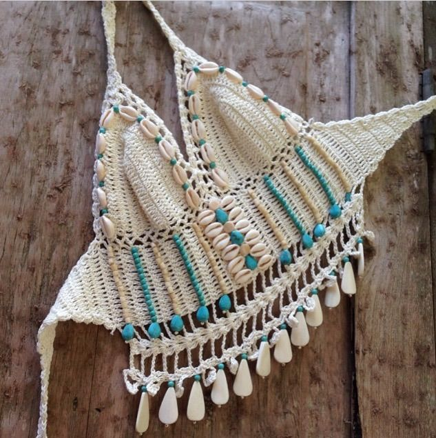 ☮ American Hippie Bohéme ☮  Summer Festival Boho ☮ Crochet Halter Top ❤