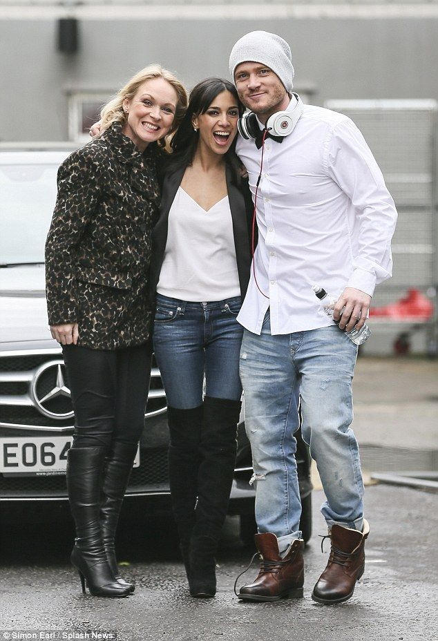 Joining in: Emmerdale's Michelle Hardwick, Fiona Wade and Matthew Wolfenden (L-R) appeared to be in great spirits on Friday ahead of filming