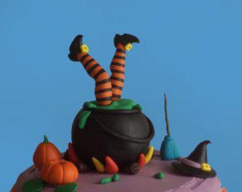 Incidente della strega di Halloween Fondant Cake Topper in Pot, piedi di strega, strega scopa e cappello