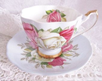 QUEEN ANNE LADY Sylvia 1950's teacup and saucer set, English china tea set, excellent condition