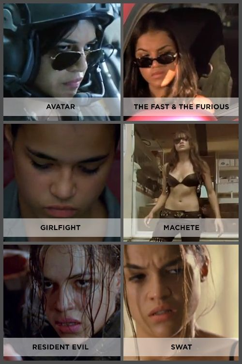Michelle Rodriguez in pretty much all her roles.