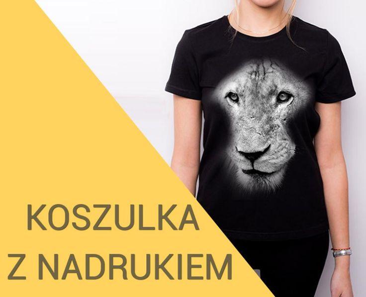T-shirt czarny damski koszulka z nadrukiem LEW