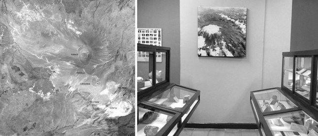 Izq: Fotografías satelital del Volcán Puracé. Der: Fotografía aérea del volcán y muestrarios geológicos. Museo de Historia Natural Universidad del Cauca
