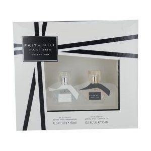 Faith Hill Parfums Collection - 2 Piece Giftset - Set Contains .5 Oz. Faith Hill True Spray + .5 Oz. Faith Hill Parfums Spray (Retail Price .... $14.95. 2 Piece Gift Set. Faith Hill Parfums Collection for Women. Faith Hill Parfums Eau De Toilette Spray .05 Oz.. Faith Hill True Eau De Toilette Spray .05 Oz.. This was launched by the design house of Faith Hill in the year 2009.The nose behind this fragrance is Caroline Sabas.Top notes are Crisp pear, refreshing nerol...
