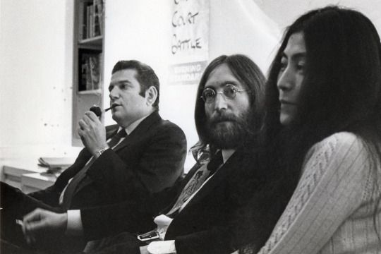 John Lennon and Yoko Ono with manager Allen Klein in 1969