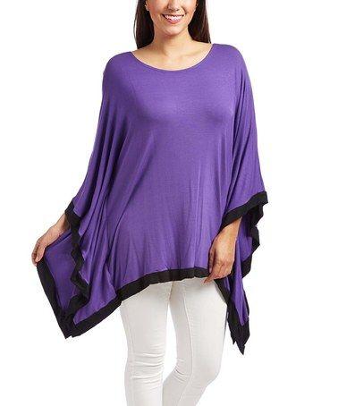 Look what I found on #zulily! Purple & Black Poncho - Plus #zulilyfinds