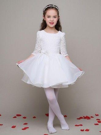 fa645e0cbe3 3 4 Lace Sleeves Ballroom Tulle Satin Flower Girl Dress  EFL12 ...