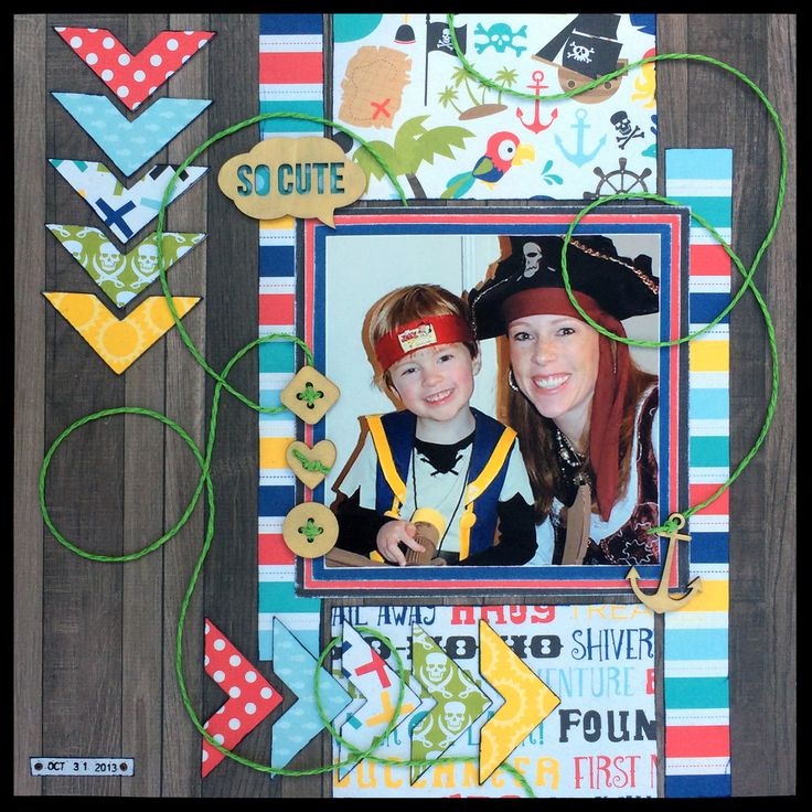 """""""Ahoy Matey"""" 12x12 one page layout using  Echo Park """"Pirate's Life"""" papers,  BoBunny """"Double Dot"""" cardstock, and Maya Road shaped wood buttons 07.2015 — Jill Kulchinsky"""