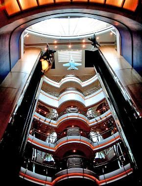 Remember to always look up. Fighter jet model airplanes hang above the elevator lobby of Freedom of the Seas.