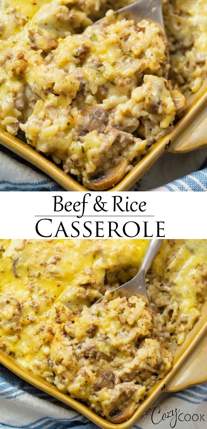 Beef And Rice Casserole Extra Cheesy Corina Hamburgermm In 2020 Beef And Rice Beef Recipes For Dinner Rice Casserole