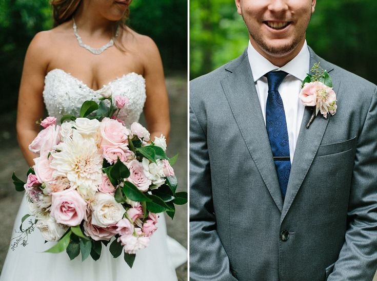 Blush and Ivory bouquet and boutonniere, Floral design by Rachel Clingen. Muskoka  Cottage Wedding by Jennifer van Son Photography