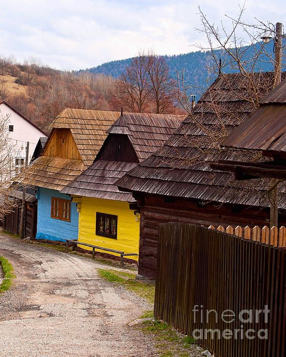 Colorful log homes in Vlkolinec, Slovakia