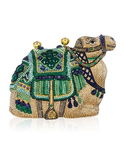 Judith Leiber Austrian crystal camel clutch bag. Detailed with sodalite and…