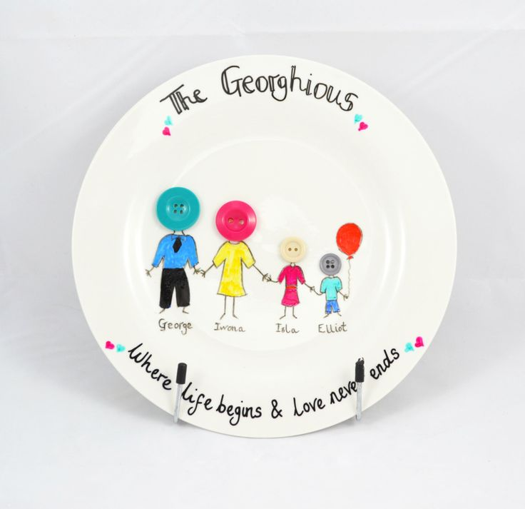 A personal favourite from my Etsy shop https://www.etsy.com/uk/listing/271332358/personalised-handmade-family-plate-new