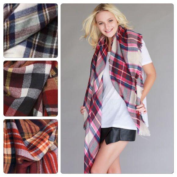 Best Selling Tartan Blanket Scarf Fuschia Color Nwot tartan plaid blanket scarf Nwot 100% acrylic 59x59 . Vivacouture Accessories Scarves & Wraps