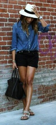 summer casual style addict: denim shirt + shorts + bag + flip flops + panama hat