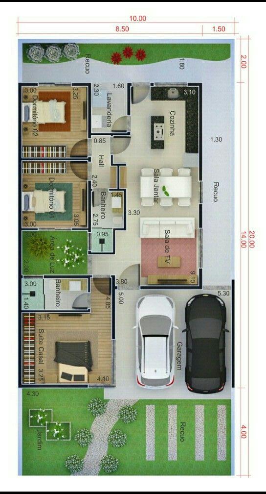 Plano de un solo nivel con garaje en terreno de 10 c 20 metros