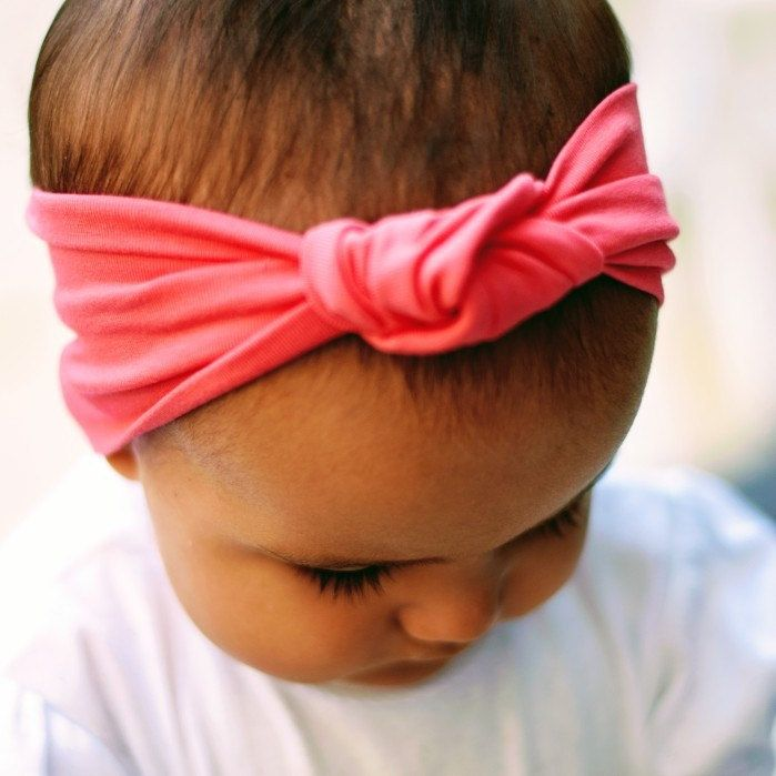 Coral pink knotted headband-organic cotton jersey