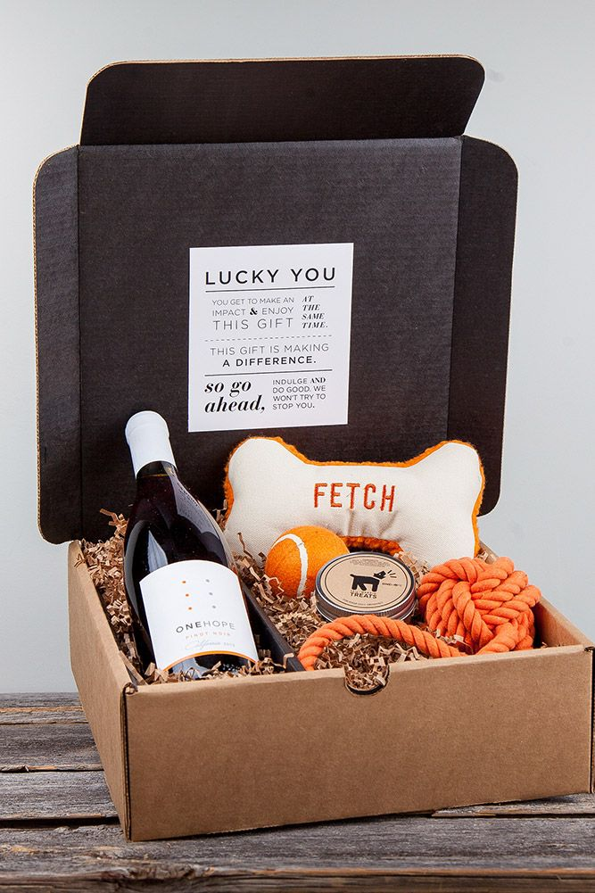 Great gift for dog lover. Give back to charity. viaONEHOPE - Pinot for Paws WOOF! Gift Box