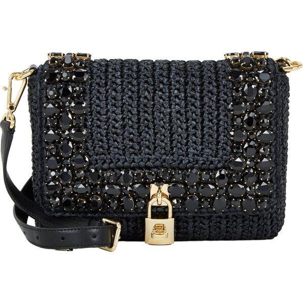 Dolce & Gabbana Embellished Raffia Shoulder Bag (1,870 BAM) ❤ liked on Polyvore featuring bags, handbags, shoulder bags, bolsas, pattern purse, print handbags, dolce gabbana purses, jewel purse and embellished purses