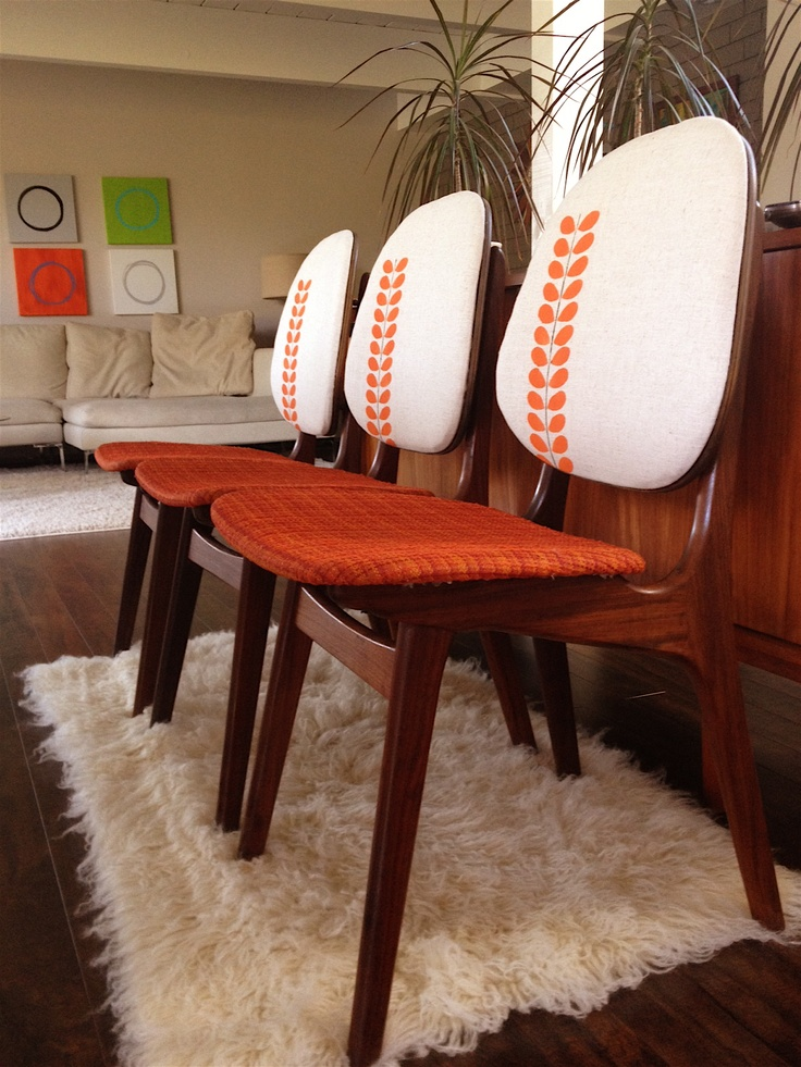 Danish teak Mid Century dining chairs reupholstered on the back original on the seat
