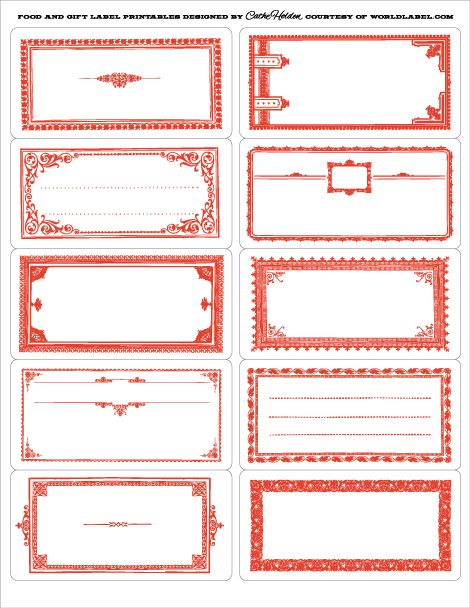 22 best Red Bordered Labels, Gummed Vintage Label Printables - free address label templates