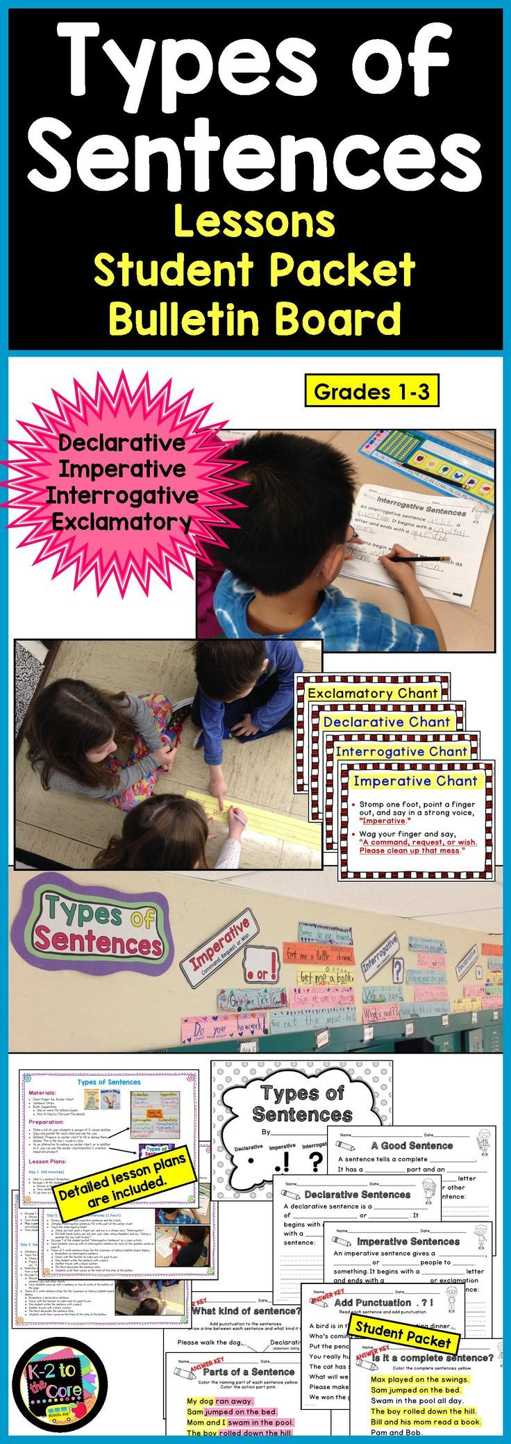 Teach your students about the four kinds of sentences (Declarative, Imperative, Interrogative, and Exclamatory), their punctuation, as well as what a complete sentence is, and what the two parts of a sentence are. I've included activities and materials that will engage your students and provide them with enjoyable practice in punctuating and identifying the different kinds of sentences. This product is one component of a bundle.