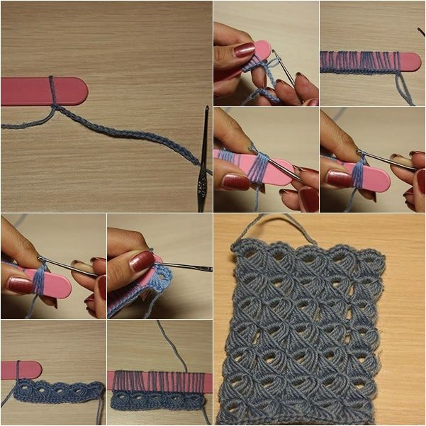 crochet-bracelet-f /   DIY Crochet Broomstick Lace Pattern with Popsicle Stick