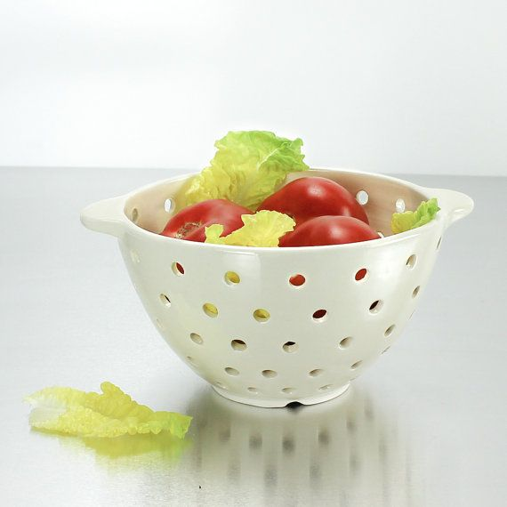 Large Pottery Colander with Handles, Minimal Modern white clay ceramic dots Berry Bowl basket stoneware porcelain dinnerware gift, IN STOCK