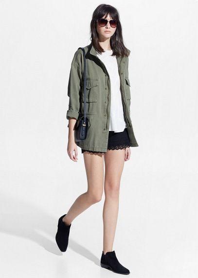Veste style militaire - Vestes pour Femme | MANGO Outlet France