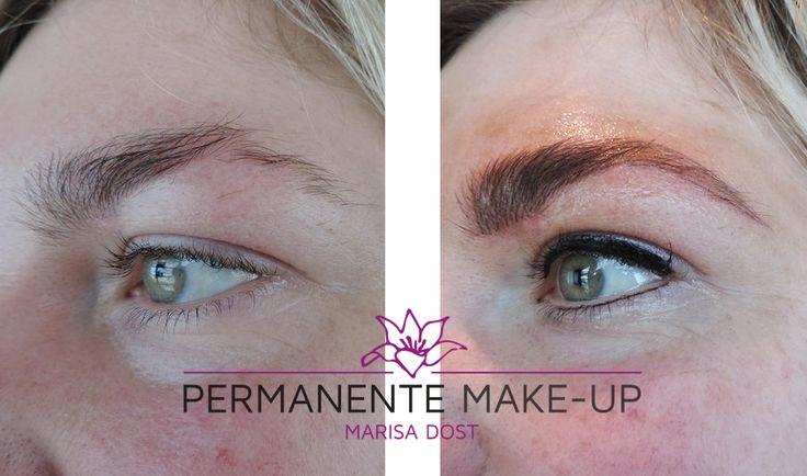 Permanente make-up wenkbrauwen hairstroke techniek en eyeliner.